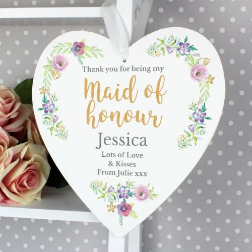 Personalised Floral Watercolour Maid of Honour Wedding Heart Decoration